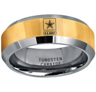 8mm  - Unisex or Men's U.S. Army Tungsten Wedding Band. Military Wedding Bands. Gold and Silver band with Laser Etched United States Army Logo (Star in Square)