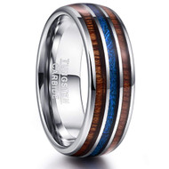 8mm - Unisex, Women's or Men's Wedding Tungsten Wedding Band. Wood Inlay with Blue Inspired Meteorite. Domed Tungsten Carbide Ring. Comfort Fit