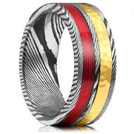 8mm -  Unisex or Mens Real Damascus Steel Band. Black, Silver Damascus Ring with Gold Hammered Design and Red Wire Inlay