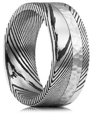 8mm -  Unisex or Mens Real Damascus Steel Band. Black, Silver Damascus Ring with Hammered Design. Comfort Fit.