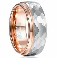 8mm - Unisex or Men's Tungsten Wedding Bands. Duo Tone Rose Gold and Silver Hammered Finish Men's Tungsten Carbide Ring