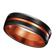 8mm - Unisex or Men's Tungsten Wedding Band. Orange Stripe with Black Matte Finish Tungsten Carbide Ring with Double Orange Tone. Beveled Edge Wedding Band