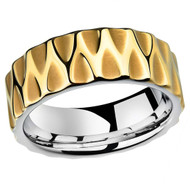 8mm - Unisex or Men's 18K Gold Honey Comb Tungsten Wedding Band. Duo Tone - Gold with Silver Inside - Tungsten Carbide Ring.