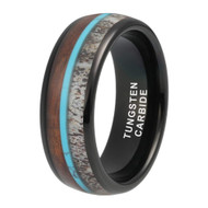 8mm - Unisex or Men's Wedding Tungsten Wedding Band. Black Band with Blue Calaite Turquoise, White Antler and Wood Inlay. Comfort Fit Tungsten Carbide Domed Top Ring