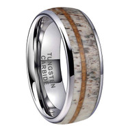 8mm - Unisex or Men's Wedding Tungsten Wedding Band. Silver Band with White Antler and Off Center Wood Inlay. Comfort Fit Tungsten Carbide Domed Top Ring