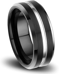 8mm - Unisex or Men's Tungsten Wedding Band. Black Matte Finish Tungsten Carbide Ring with Silver Tone Top. Beveled Edge