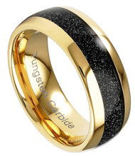 8mm - Unisex or Men's Tungsten Wedding Band. Black 14K Galaxy and Gold Domed Tungsten Carbide Wedding Ring. Mens Jewelry