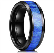 8mm - Unisex or Men's Tungsten Wedding Bands. Black and Blue Tone with Wood Inlay. High Polish Beveled Tungsten Ring