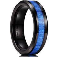 6mm - Unisex or Women's Tungsten Wedding Bands. Black and Blue Tone with Wood Inlay. High Polish Beveled Tungsten Ring