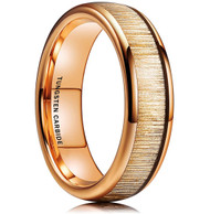 6mm - Unisex or Women's Tungsten Wedding Bands. Gold Ring with Golden Tone Wood Inlay. High Polish Domed Top Tungsten Ring