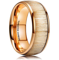 8mm - Unisex or Men's Tungsten Wedding Bands. Gold Ring with Golden Tone Wood Inlay. High Polish Domed Top Tungsten Ring