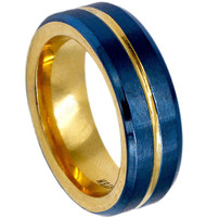 8mm - Unisex or Men's Stainless Steel Wedding Bands. Blue with Gold Groove and Inner Gold. High Polish Inside and Matte Finish Brushed Top.