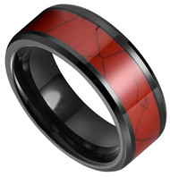 8mm - Unisex, Men's or Women's Red Turquoise Inlay Tungsten Wedding Band Ring. Black Tone Tungsten Carbide Ring Comfort Fit.