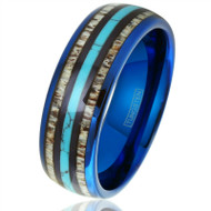 8mm - Unisex or Men's Wedding Tungsten Wedding Band. Blue Band with Blue Turquoise, White Antler and Stripes Inlay. Comfort Fit Tungsten Carbide Domed Top Ring