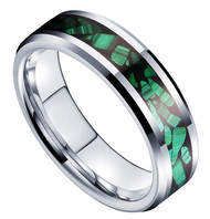 6mm - Unisex or Women's Green Malachite Inlay Tungsten Wedding Band Ring. Silver Tone Tungsten Carbide Ring Comfort Fit.