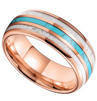 8mm - Unisex or Men's Wedding Tungsten Wedding Band. Rose Gold Band with Blue Turquoise, White Antler and Stripes Inlay. Comfort Fit Tungsten Carbide Domed Top Ring