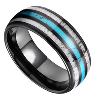8mm - Unisex or Men's Wedding Tungsten Wedding Band. Black Band with Blue Turquoise, White Antler and Stripes Inlay. Comfort Fit Tungsten Carbide Domed Top Ring