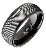 8mm - Unisex or Men's Tungsten Wedding Band. Silver Wire Band (Black Tungsten Carbide) Ring with Silver Wire Inlay
