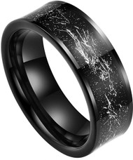 8mm - Unisex or Men's Tungsten Wedding Band. Wedding Band Black with Silver Foil Inlay. Tungsten Carbide Ring