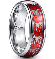 8mm - Unisex or Men's Tungsten Wedding Band. Silver Spiders on a Silver Band with Red Inlay.