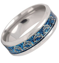 8mm - Unisex, Men's or Women's Steel Wedding Band. Duo Tone Rose Gold Dolphins on a Silver with Glitter Blue Inlay.