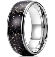 8mm - Unisex or Men's Tungsten Wedding Band. Wedding Band Silver with Black and Silver Pyrite Inlay. Tungsten Carbide Ring