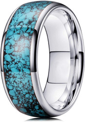 8mm - Unisex or Men's Silver and Blue Turquoise Granules Inlay Tungsten Wedding Band Ring. Domed Tungsten Carbide Ring Comfort Fit.
