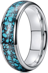 6mm - Unisex, Men's or Women's Silver and Blue Turquoise Granules Inlay Tungsten Wedding Band Ring. Domed Tungsten Carbide Ring Comfort Fit.