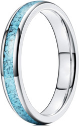 4mm - Women's Silver and Blue Turquoise Granules Inlay Tungsten Wedding Band Ring. Domed Tungsten Carbide Ring Comfort Fit.