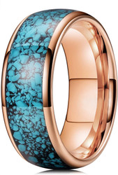 8mm - Unisex or Men's Rose Gold and Blue Turquoise Granules Inlay Tungsten Wedding Band Ring. Domed Tungsten Carbide Ring Comfort Fit.