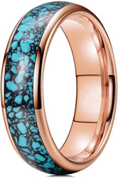 6mm - Unisex, Men's or Women's Rose Gold and Blue Turquoise Granules Inlay Tungsten Wedding Band Ring. Domed Tungsten Carbide Ring Comfort Fit.