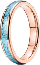 4mm - Women's Rose Gold and Blue Turquoise Granules Inlay Tungsten Wedding Band Ring. Domed Tungsten Carbide Ring Comfort Fit.