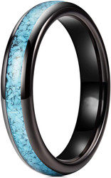 4mm - Women's Black and Blue Turquoise Granules Inlay Tungsten Wedding Band Ring. Domed Tungsten Carbide Ring Comfort Fit.
