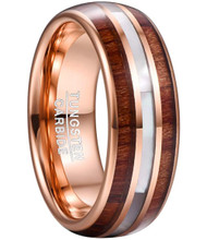 8mm - Unisex, Women's or Men's Tungsten Wedding Bands. Rose Gold Wood and Mother of Pearl Inlay Ring (Organic colors)