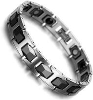 """8"""" Inch  - Tungsten Bracelet Mens - Faceted Black and Silver Tones Style Design."""