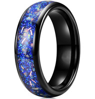 6mm - Unisex, Men's or Women's Ceramic Wedding Bands. Black Band with Bright Blue Opal and Colorful Organic Inlay Design