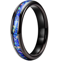 4mm - Unisex or Women's Ceramic Wedding Bands. Black Band with Bright Blue Opal and Colorful Organic Inlay Design