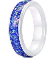 6mm - Unisex, Men's or Women's Ceramic Wedding Bands. White Band with Bright Blue Opal and Colorful Organic Inlay Design
