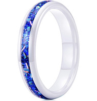 4mm - Unisex or Women's Ceramic Wedding Bands. White Band with Bright Blue Opal and Colorful Organic Inlay Design