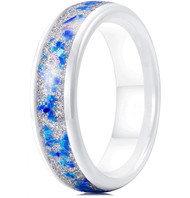 6mm - Unisex, Men's or Women's Ceramic Wedding Bands. White Band with White Sand and Bright Pink and Blue Fragments Organic Inlay Design