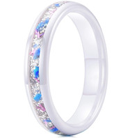 4mm - Unisex or Women's Ceramic Wedding Bands. White Band with White Sand and Bright Blue and Pink Fragments Organic Inlay Design