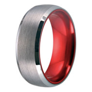 mens tungsten wedding bands red, mens tungsten ring silver and red