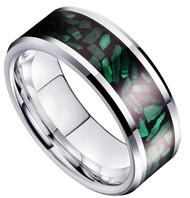 8mm - Unisex, Men's or Women's Green Malachite Inlay Tungsten Wedding Band Ring. Silver Tone Tungsten Carbide Ring Comfort Fit