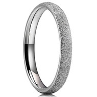 3mm - Women's Titanium Wedding Band. Silver Tone Sand Blasted Matte Frosted Glittery Finish Domed Titanium Steel Ring