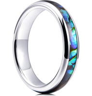 4mm - Women's Tungsten Wedding Bands. Domed Silver Band and Multi Color Rainbow Abalone Shell Inlay Tungsten Carbide Ring (Organic colors)