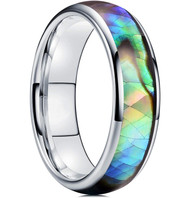 6mm - Unisex, Men's or Women's Tungsten Wedding Bands. Domed Silver Band and Multi Color Rainbow Abalone Shell Inlay Tungsten Carbide Ring (Organic colors)