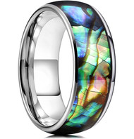 8mm - Unisex or Men's Tungsten Wedding Bands. Domed Silver Band and Multi Color Rainbow Abalone Shell Inlay Tungsten Carbide Ring (Organic colors)