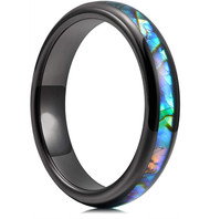 4mm - Women's Tungsten Wedding Bands. Domed Black Band and Multi Color Rainbow Abalone Shell Inlay Tungsten Carbide Ring (Organic colors)