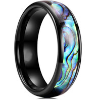 6mm - Unisex, Men's or Women's Tungsten Wedding Bands. Domed Black Band and Multi Color Rainbow Abalone Shell Inlay Tungsten Carbide Ring (Organic colors)