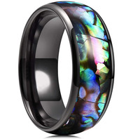 8mm - Unisex or Men's Tungsten Wedding Bands. Domed Black Band and Multi Color Rainbow Abalone Shell Inlay Tungsten Carbide Ring (Organic colors)